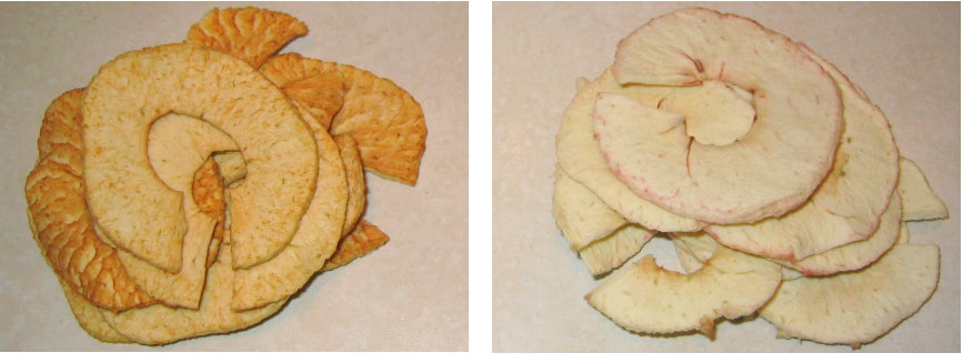 Dried Apple Slices without and with Fresh
